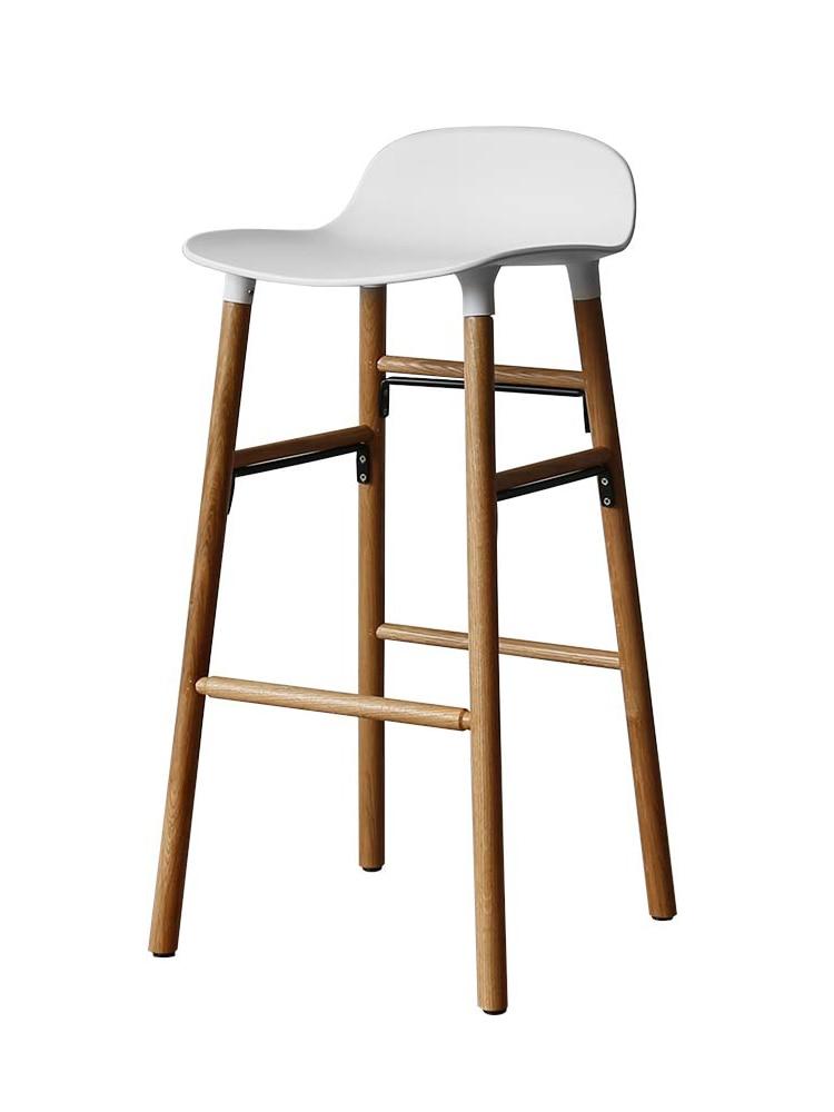 Nordic Denmark Small Apartment Multifunctional Bar Chair Senior Gray Bar Chair Bar Stool Solid Wood Legs Plastic Stool Chair