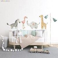 Nórdicos de adhesivos de pared de animales para niños habitación Bebé vivero Pared de dormitorio de niño calcomanías cebra Flamingo jirafa elefante pegatinas