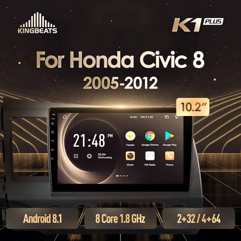 KingBeats Android 8.1 unità di testa 4G in Dash Car Radio Multimedia Video Player di Navigazione GPS Per Honda Civic 8 FK FN FD 2005 2012