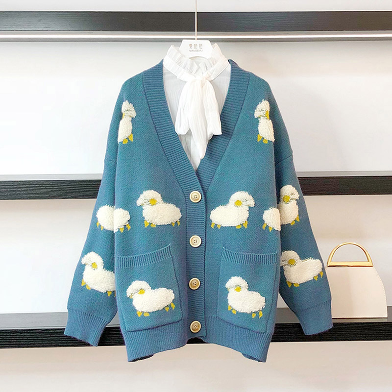 Best Offer #66a1 Women Long Sleeve Knit Loose Cardigan