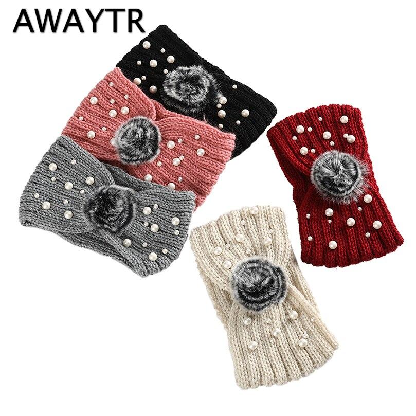 AWAYTR New Autumn Winter Cross Knot Knit Headband Women Pearl Fur Decorated Hairband Turban Bandanas Ladies Hair Accessories