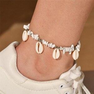 WUKALO czeski obrączki dla kobiet Vintage Fashion regulowany wisiorek z muszli bransoletka z koralików na nogę Anklet Beach Ankle Jewelr