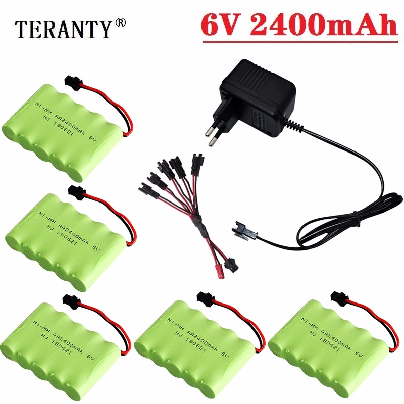 (SM Plug) Ni-MH 6v 2400mah Battery + USB Charger For Rc Toys Cars Tanks Trucks Robots Boats Guns AA 6v Rechargeable Battery Pack