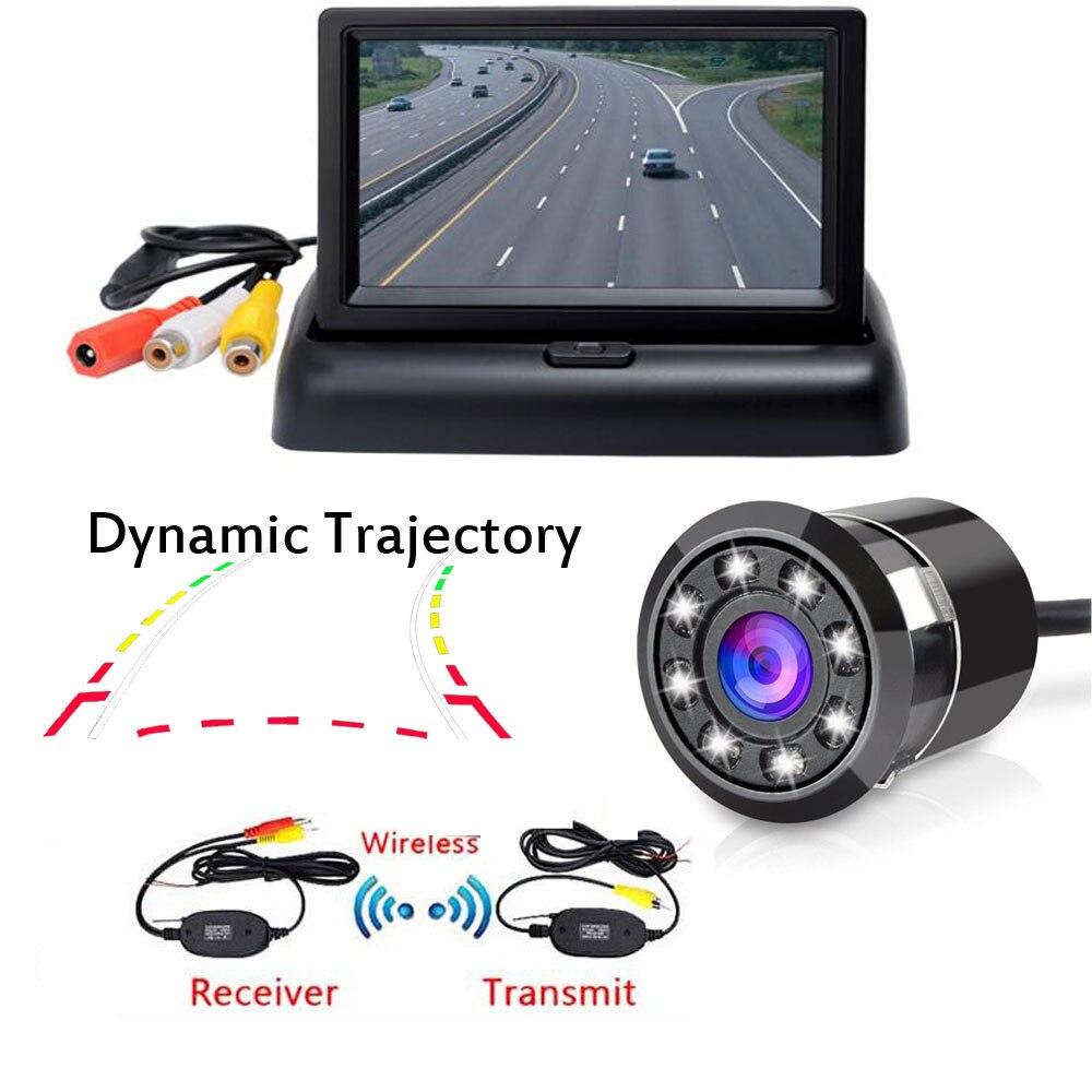 Caméra de vue arrière sans fil | Écran TFT LCD HD 16:9 de 5 pouces, avec trajectoire dynamique Super HD, 18.5mm 8 IR