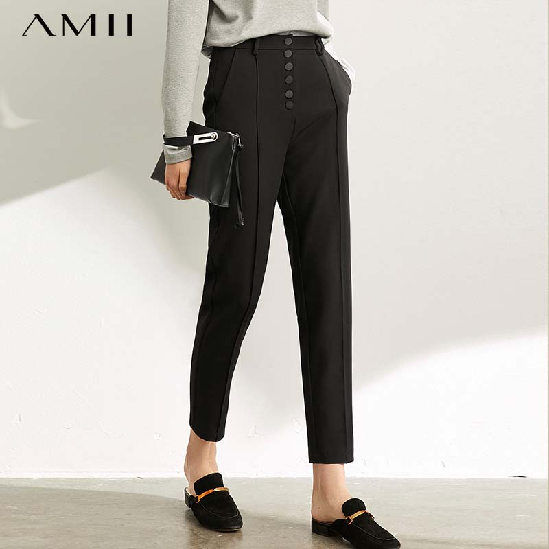 Amii Autumn Women's Casual Pants Female Elegant Slim Fit Black Office Lady Straight Trousers 11930253