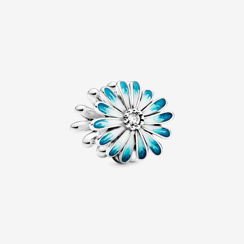 2020 Spring New 925 Sterling Silver Beads Blue Daisy Flower Charms Fit Original Pandora Bracelets Women DIY Jewelry