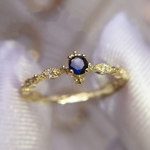Simple Blue Zircon Rhinestones Ring For Women Accessories Jewelry Wedding Engagement Rings Gold Color Party Girl Gift