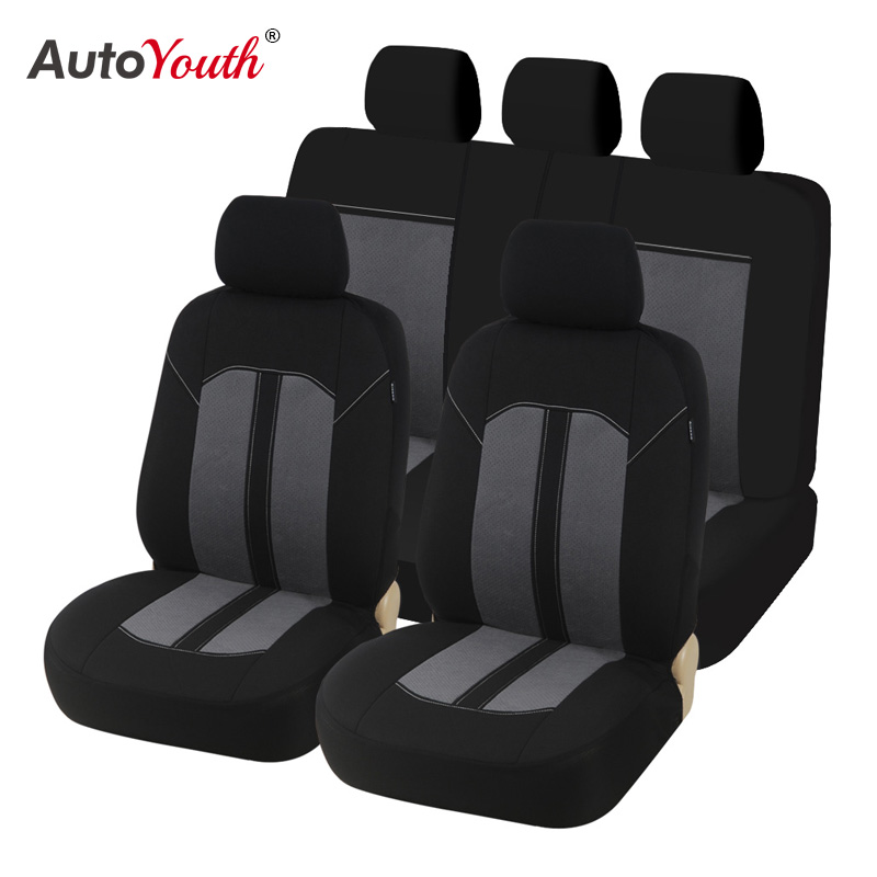 New Pair Waterproof Canvas Black Gray Universal Car Seat Covers For Most Cars