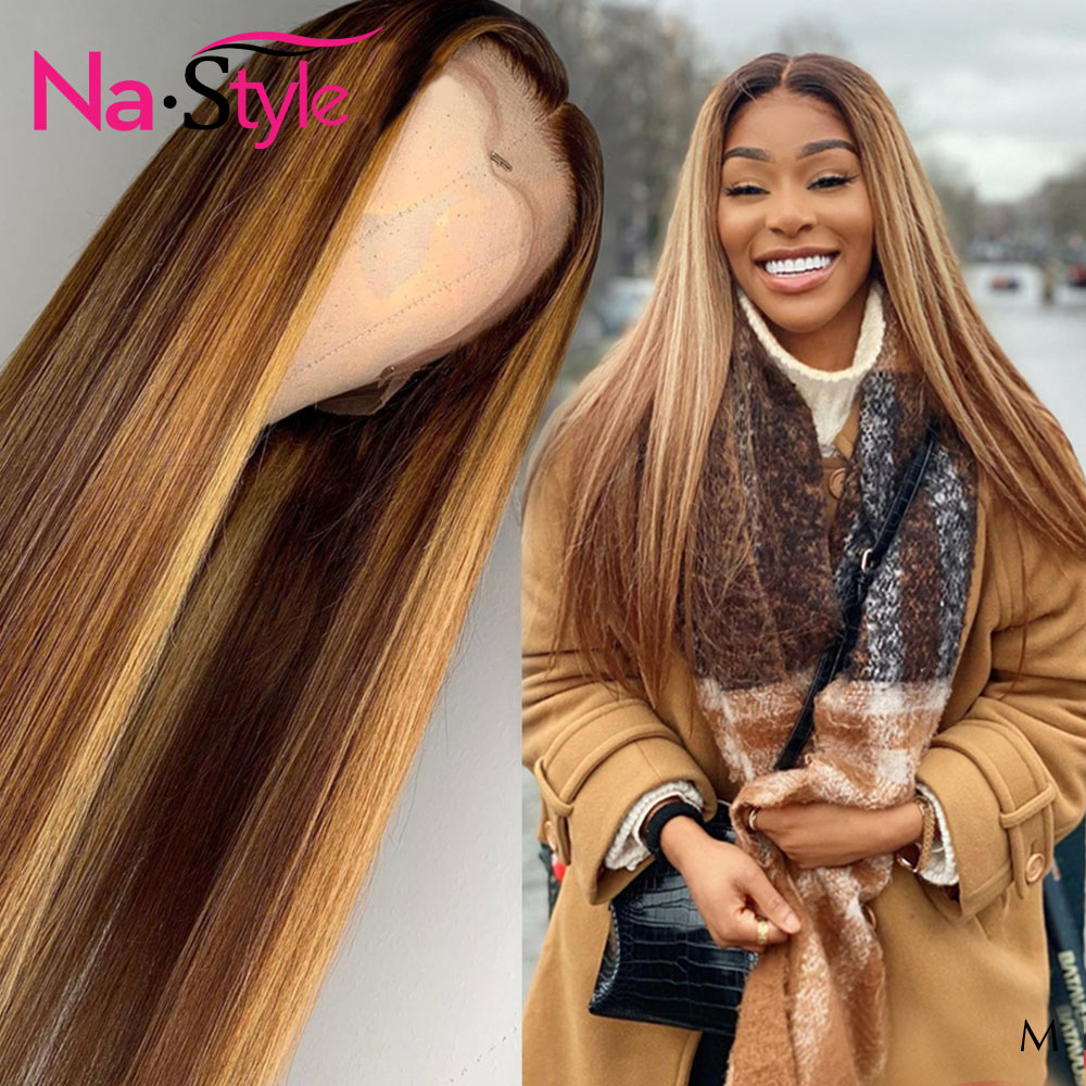 Highlight Wig 1b/27 Colored Human Hair Wigs Pre Plucked With Baby Hair Natural Hairline 13x6 Ombre Human Hair Wig 130 Remy