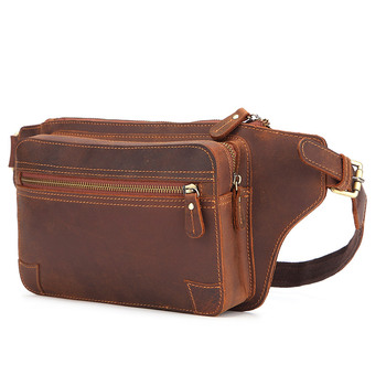 Crazy Horse Leather Waist Bag Men Genuine Leather Chest Bags  Multifunction Travel Male Fanny Pack Belt Pouch Bag for Phone brand hand made genuine crazy horse leather small cross body shoulder bag men s messenger bags male waist belt pack for travel