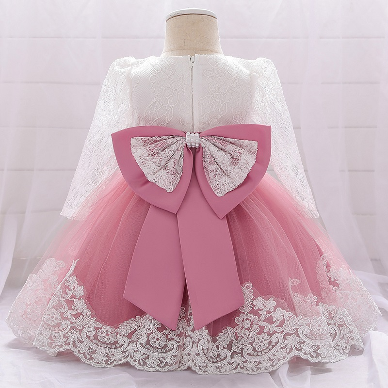 Baby Girl Dresses Party And Wedding Newborn Girl Long Sleeve Lace Dresses Girl's Birthday Party Formal Party Lace Dress