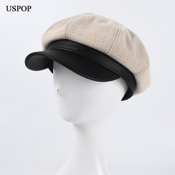 USPOP 2020 nowe ośmiokątne czapki damskie wełniane czapki czapki grube ciepłe czapki na zimowe czapki gazeciarza tanie i dobre opinie Ośmioboczna Kapelusze LLZ-NW2047 Patchwork WOMEN Z wełny