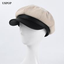 USPOP 2020 nowe ośmiokątne czapki damskie wełniane czapki czapki grube ciepłe czapki na zimowe czapki gazeciarza tanie tanio Ośmioboczna Kapelusze LLZ-NW2047 Patchwork WOMEN Z wełny