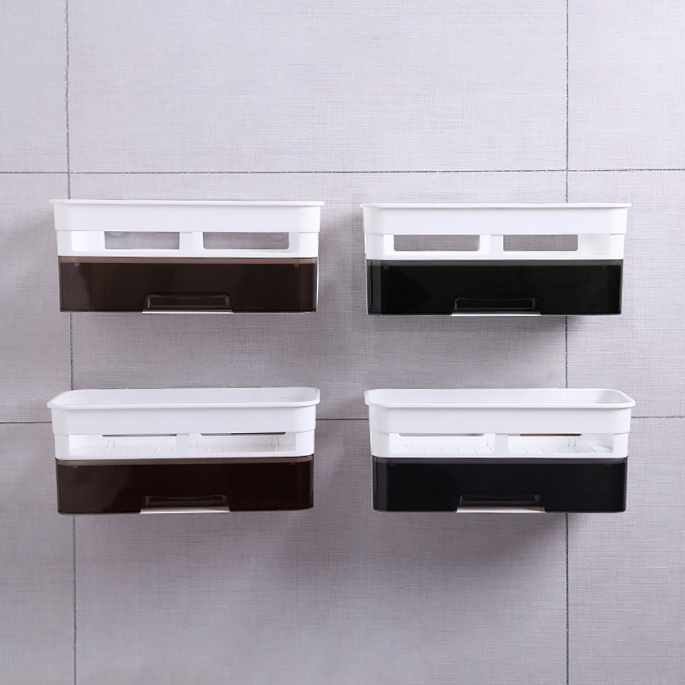 Permalink to Punch-Free Bathroom Shelf Plastic Toilet Bathroom Vanity Wall Hanging Bathroom Storage Rack Basket No Trace Stickers Rack