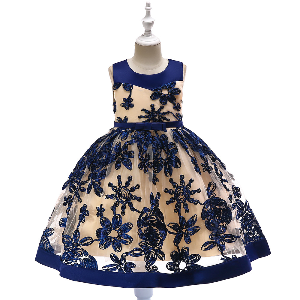 2019 Flower Boys/Flower Girls Wedding Dress Stereo Embroidery Dress Girls Soft Veil Princess Tutu Children Performance Formal Dr
