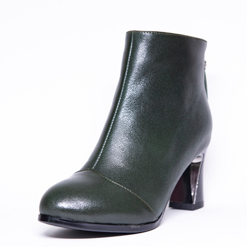 Genuine Leather Ankle Boots Women Autumn Winter High Thick Heel Shoes G270 Fashion Woman Round Toe Black Green Back Zipper Boots woman genuine leather platform square heel knee high boots round toe side zipper dress winter boots black