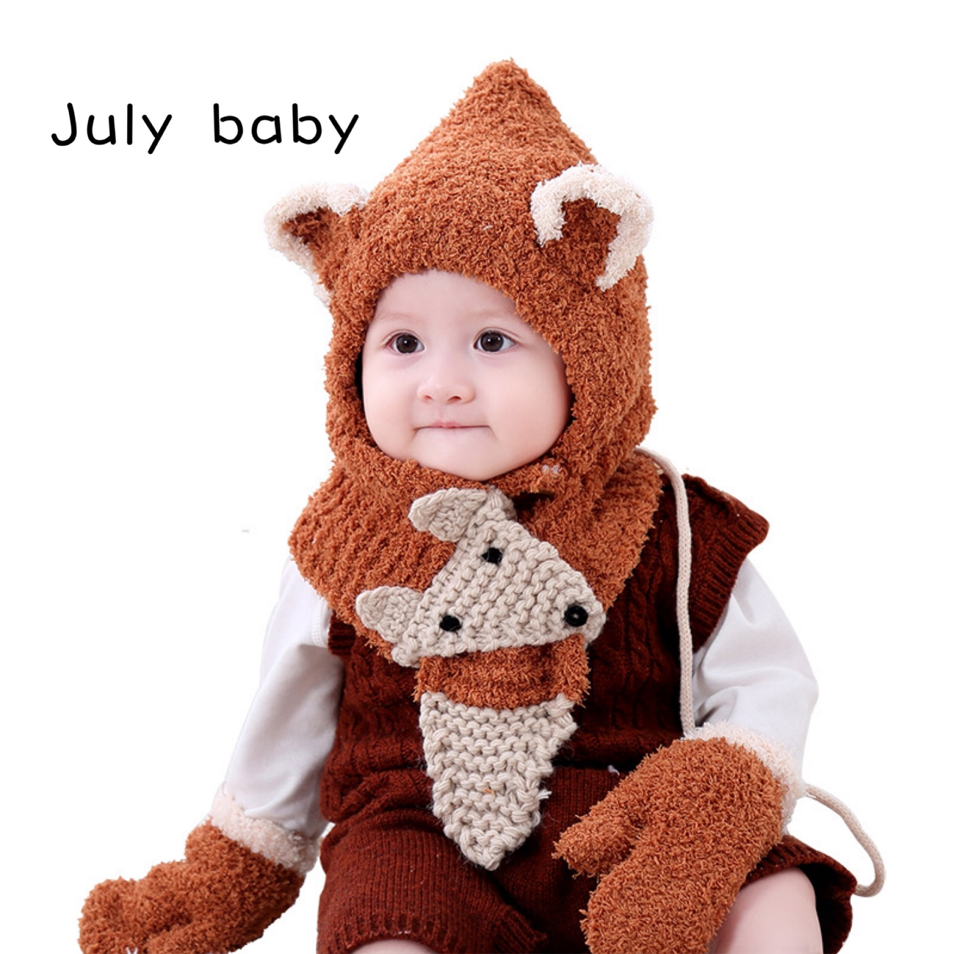 July Baby Autumn And Winter Baby Hat Earmuffs Knitted Hat Thickened Boys And Girls Handmade Plush Hat Gloves Warm Three-piece