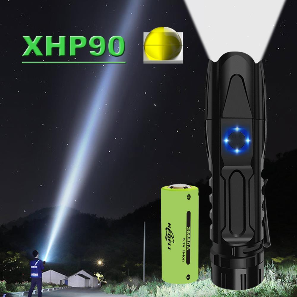 Mini Super 30000 LM XHP90 Most Powerful LED Flashlight Rechargeable Hunting Hand Lamp USB  LED Torch XHP70 XHP50 26650 OR 18650
