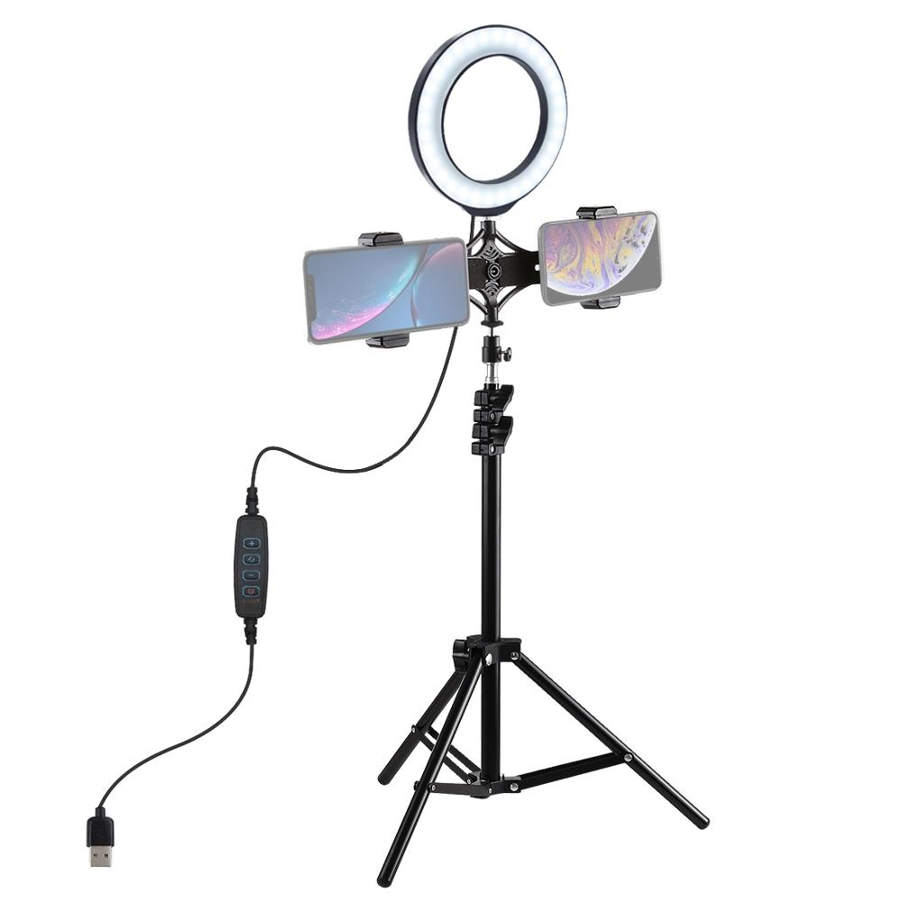 1.1M Aluminium Tripod + 6.2 16 cm LED Ring Light for Makeup Vlog Video Live Stream + Dual Mobile Phone Holder for Redmi 7 iphon image
