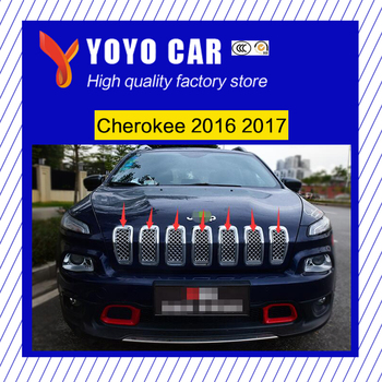 Hot sale 7 Pieces Stainless steel car front grille racing grills grill cover trim for Cherokee 2016 2017