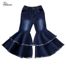 Г. Одежда для малышей Детская одежда для маленьких девочек расклешенные джинсовые штаны с расклешенным низом Многослойные леггинсы, брюки От 2 до 7 лет