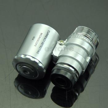 Mini jubiler 60x światło ledowe UV kieszonkowy mikroskop lupa do biżuterii lupa szkło 50PB tanie i dobre opinie OOTDTY NONE CN (pochodzenie) 500X i Pod Other Wysokiej Rozdzielczości Lornetka