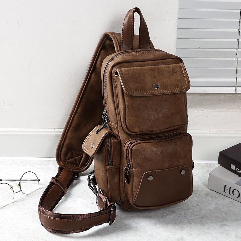 Высококачественная Мужская водонепроницаемая винтажная нагрудная сумка из искусственной кожи, модная дорожная сумка через плечо - 3