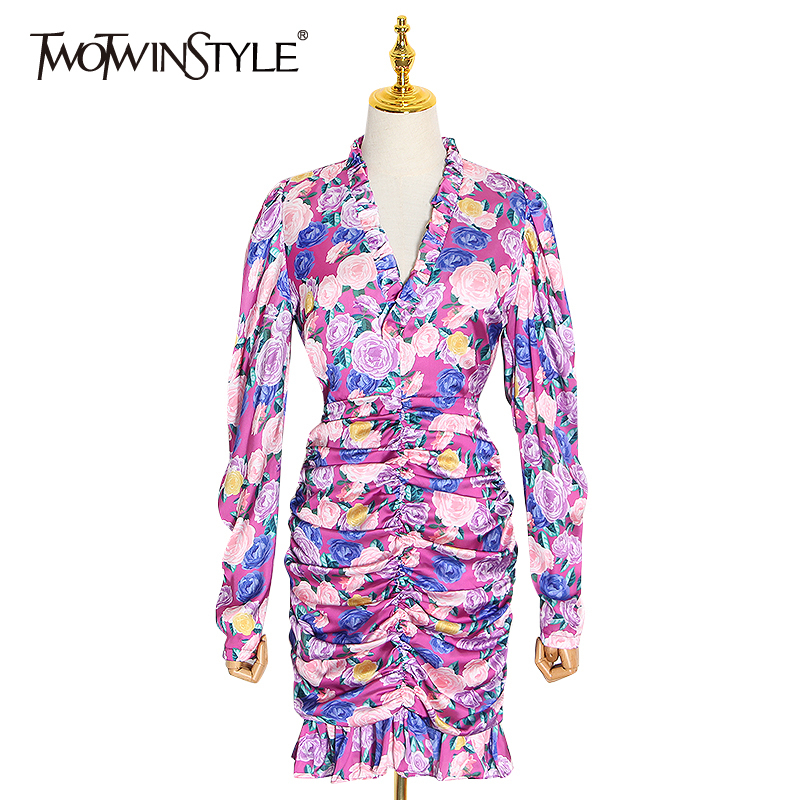 TWOTWINSTYLE Vintage Print Hit Color Dress Women V Neck Puff Long Sleeve Ruffles Ruched Mini Dresses Female 2020 Spring Clothing