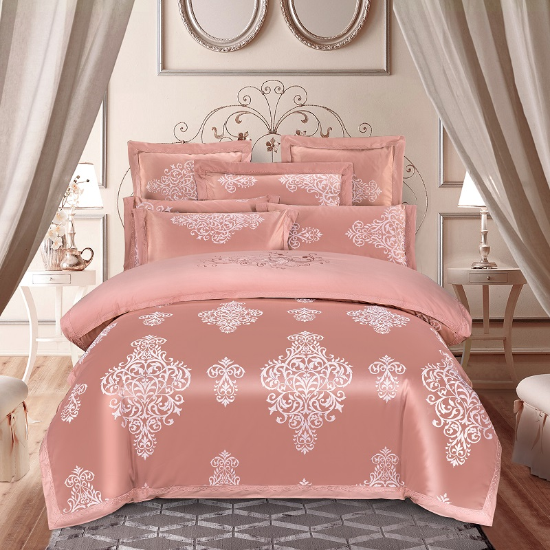 Dropshipping Luxury Wedding Jacquard Mulberry Silk Bedding 100%cotton Embroidered Duvet Cover Bed Sheet Pillowcase A014