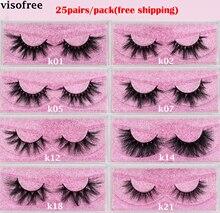 Visofree 25 คู่/ล็อต Eyelashes ขนตาปลอม Crisscross Dramatic 3D Mink Lashes ยาวขนตาปลอม Handmade Lashes
