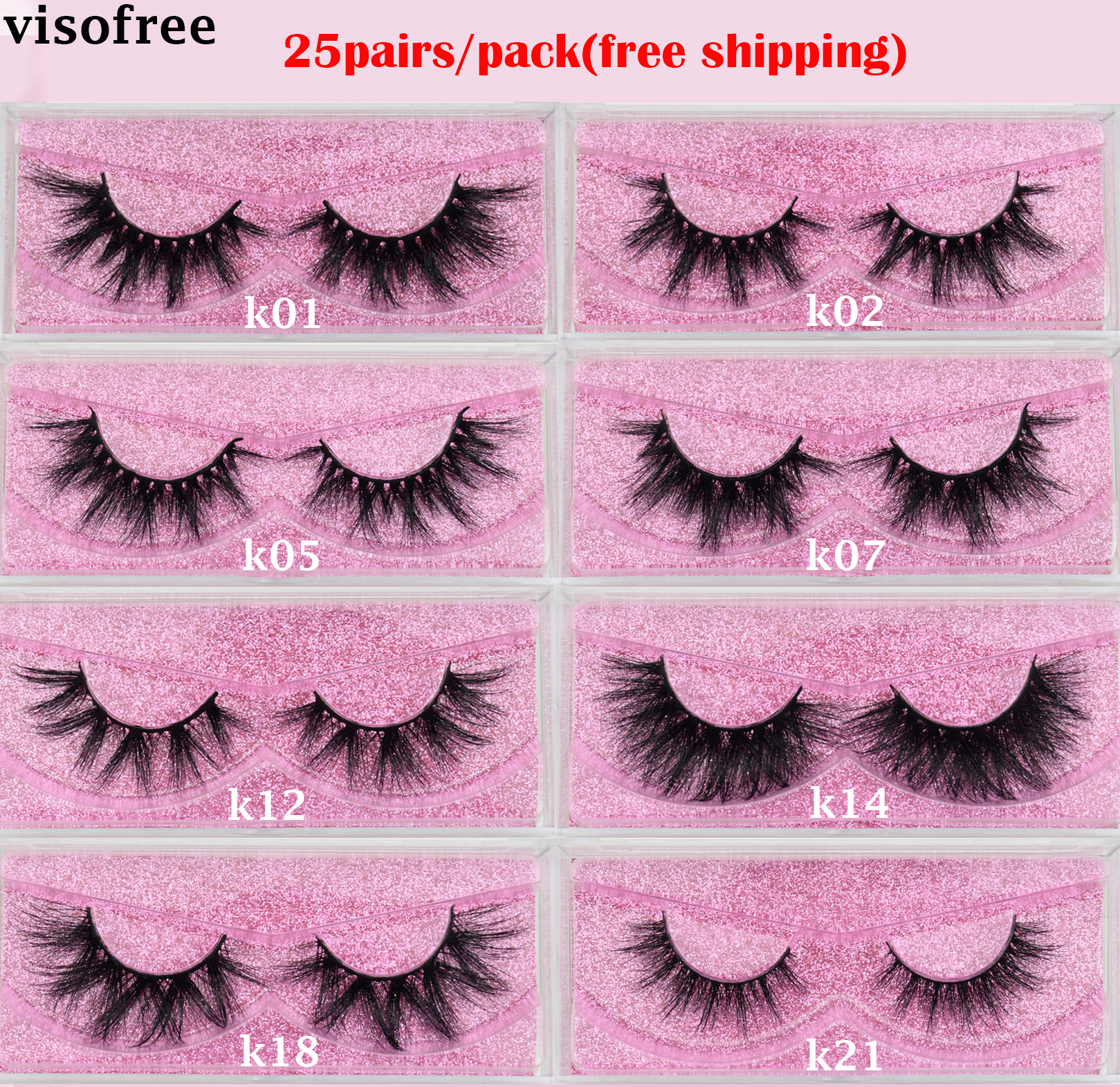 Visofree 25 Pairs/lot Eyelashes Mink Eyelashes Crisscross Dramatic 3D Mink Lashes Volume Long False Eyelashes Handmade Lashes