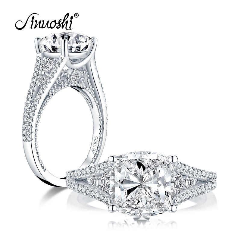 AINUOSHI Мода 925 серебро 9x9 мм большая подушка огранка обручальное кольцо имитация бриллианта Свадьба 3.0ct свадебные ювелирные кольца