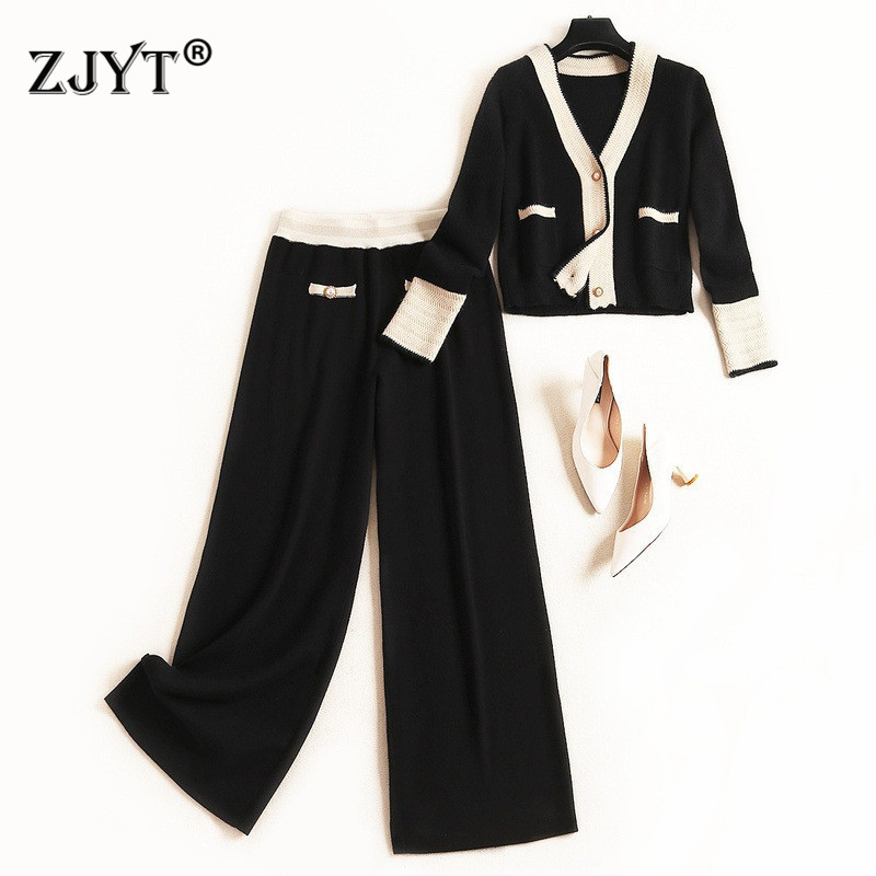 Europe Fashion Runway Women Set 2019 New Designers Autumn Winter Color Block Knit Cardigan Sweater And Pants 2Piece Sets