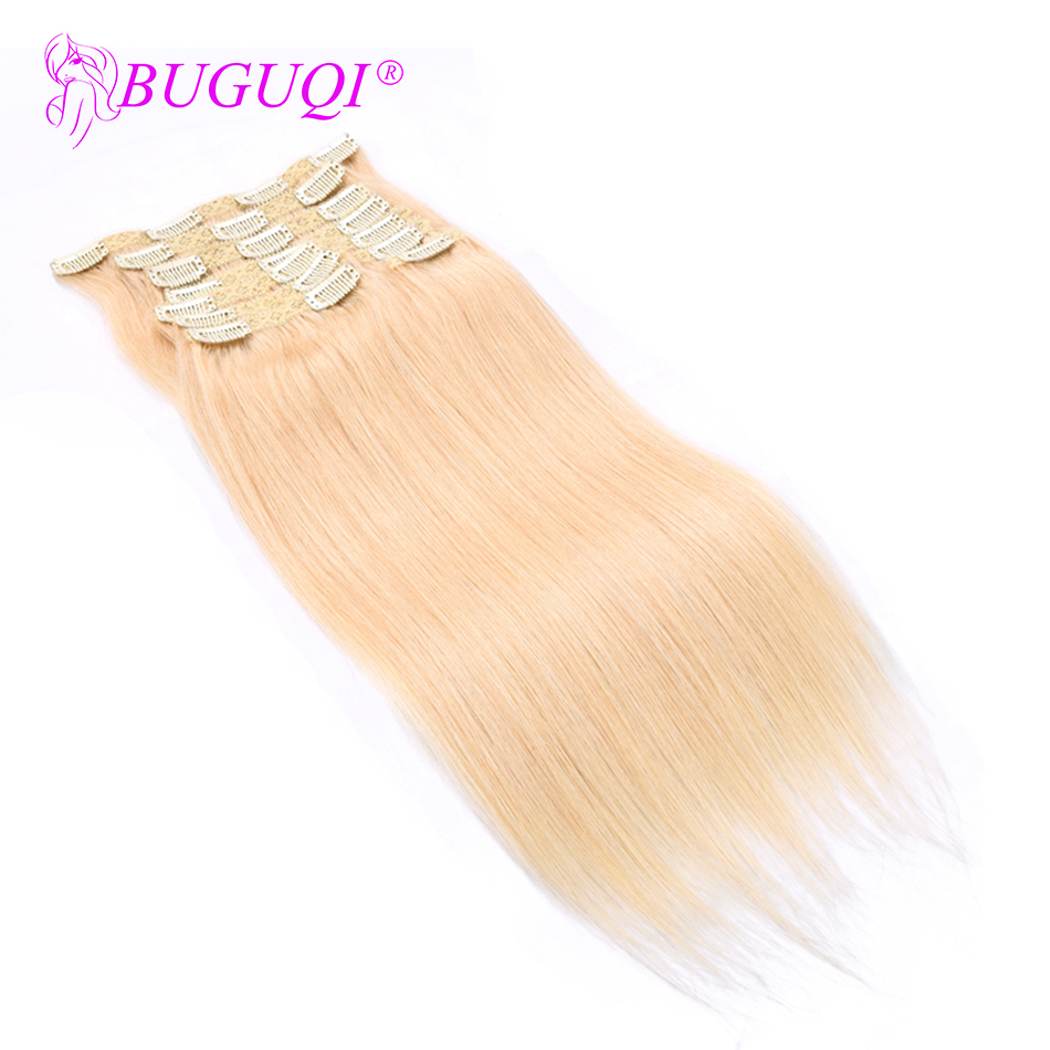 BUGUQI Hair Clip In Human Hair Extensions Mongolian #613 Remy 16- 26 Inch 100g Machine Made Clip Human Hair Extensions