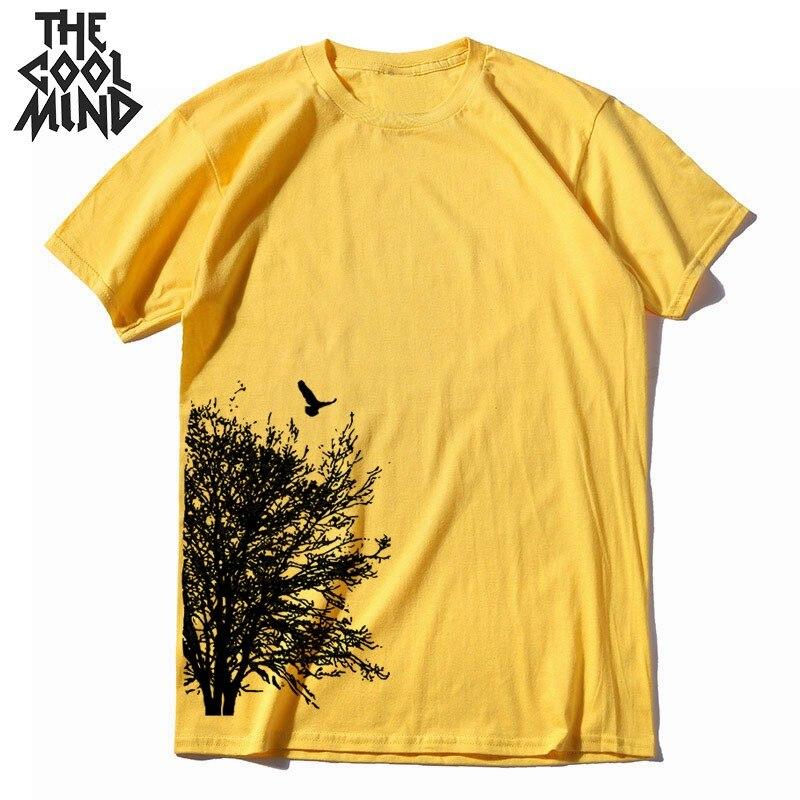 COOLMIND 100% Cotton Short Sleeve Summer Creative Tree Print Men T Shirt Casual Loost Men Tshirt Cool O-neck T-shirt Tee Shirt
