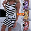 Summer Women Casual robe sexy Sleeveless Stripe T Shirts Dress Tunic Waist bodycon dress for women vestidos de verano party dres 1