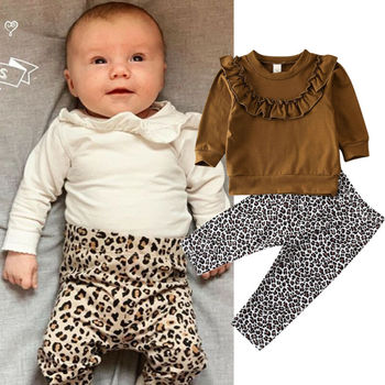 Toddler Kid Baby Girl Boy Clothes Ruffle Romper Infants Newborn Long Sleeve Tops Leopard Pants Trousers Outfit Set Clothings New image
