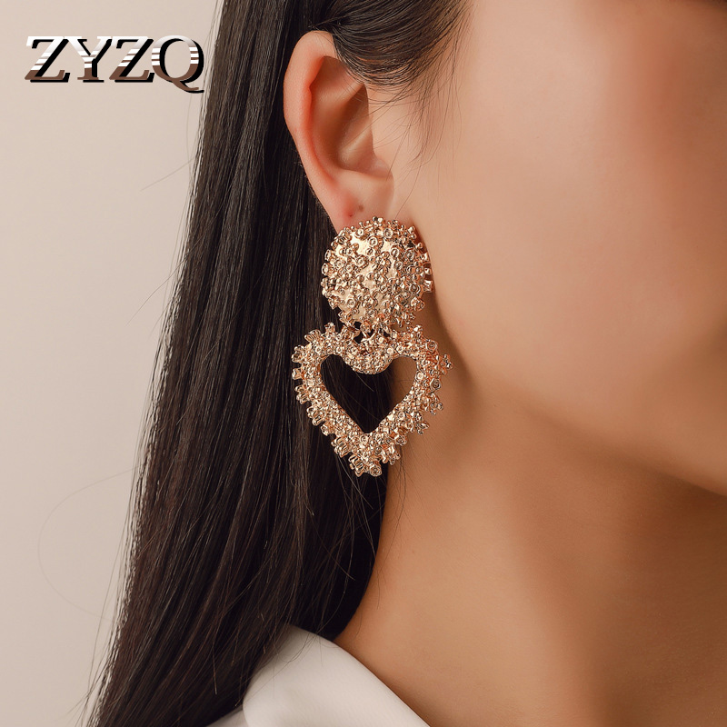ZYZQ Hot Romantic Heart Shaped Women Earrings Elegant Charming Geometric Love Gift Statement Dangle Earrings Birthday Gift Jewel