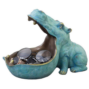 hippopotamus storage box statue creative hippo figurine sculpture key candy container home table decoration gift