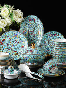 Dinnerware-Set Porcelain-Plate-Sets Flower Enamel-Colored Chinese Blue Luxurious Colorful