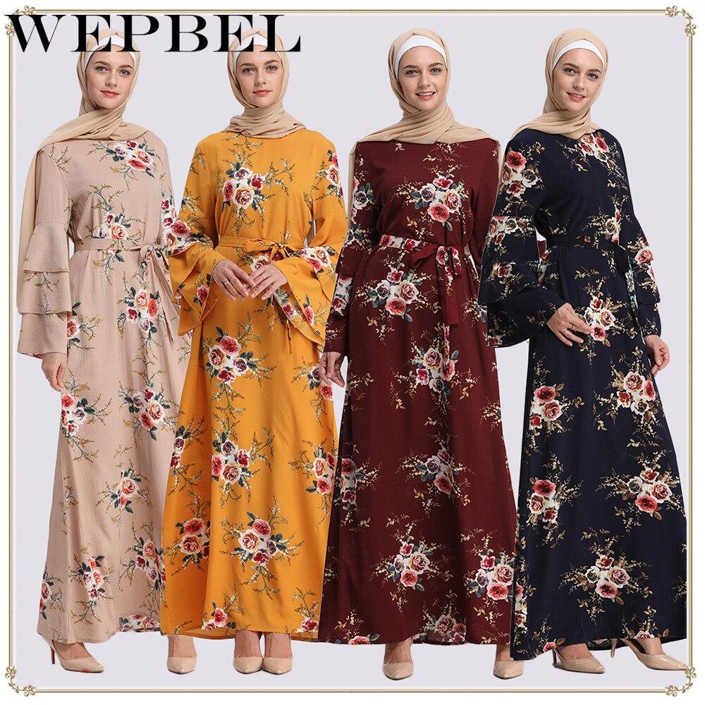 Wepbel muçulmano vestido de impressão floral oriente médio turco robe manga longa árabe abaya cintura alta ramadã quimono de clohting islâmico