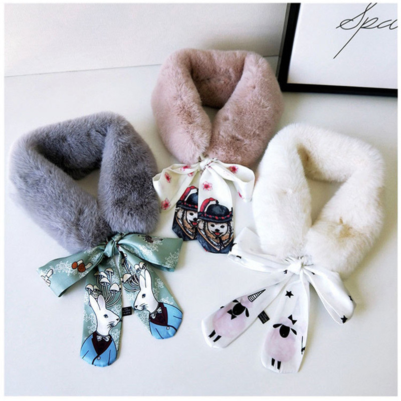 New Fashion Soft Women Faux Rabbit Fur Collar Scarf Plush Collar Neck Warmer Winter Foulard Femme Skinny Silk Shawl Wrap