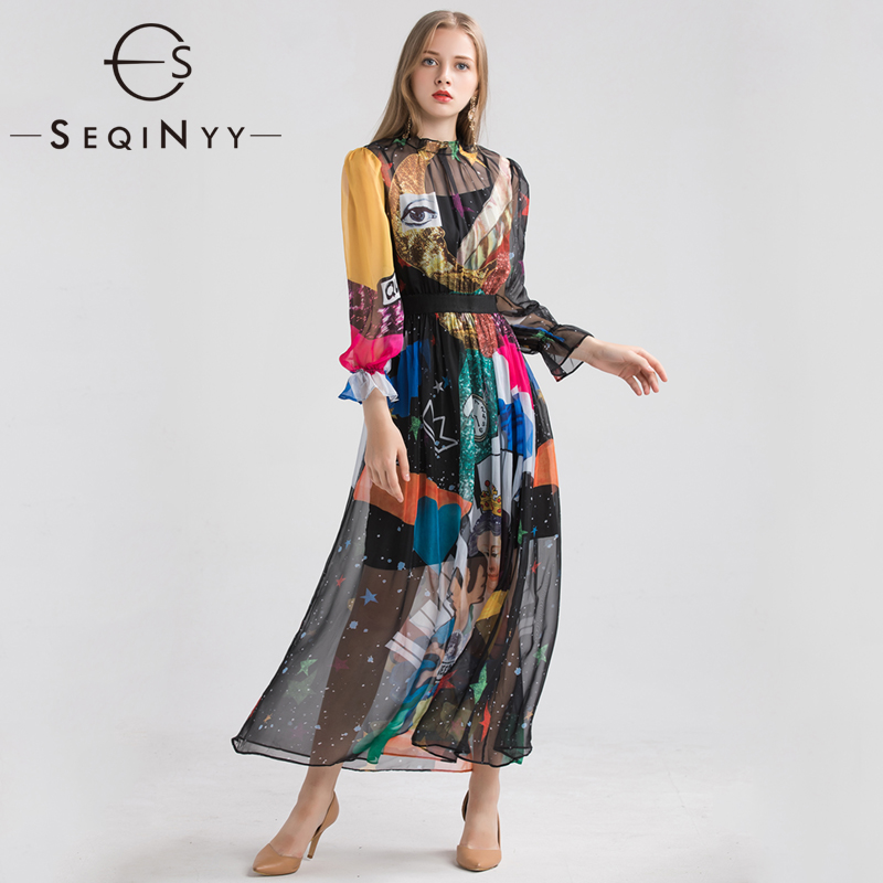 SEQINYY Chiffon Dress 2019 Early Spring Summer New Fashion Long Lantern Sleeve Elastic Waist Angel Colorful Printed Long Dress