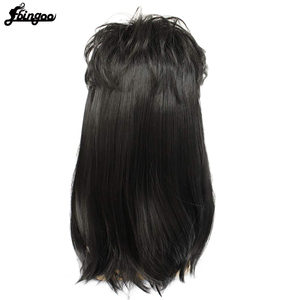 Image 4 - Ebingoo 70s 80s Hallween Metal Rocker Disco Wig Men Black Long Natural Straight Synthetic Wigs Mullet Role Play Party for Male