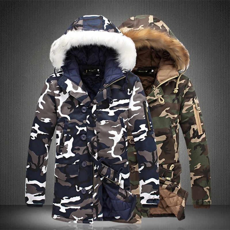 冬のロングジャケット男性 2019 迷彩軍厚く暖かいコートの男性のパーカーコート男性のファッションの毛皮フード付きパーカー男性 4XL プラスサイズ