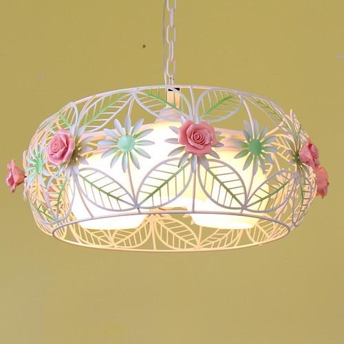 Korean Restaurant Bedroom Garden Style Iron Flower Pendant Light Hanglamp