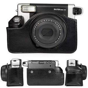 Image 4 - Fujifilm Instax Wide 300 funda para cámara instantánea, bolsa de transporte de cuero PU de calidad, 5 colores Rosa, marrón y negro