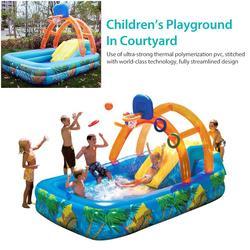 188x137cm été gonflable jeux de plein air parc aquatique basket-ball jouer piscine avec toboggan aquatique basket-ball cerceau jouets pour enfant