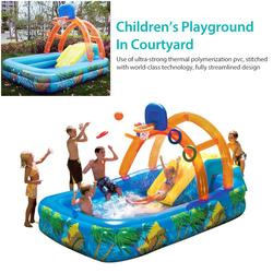 188x137cm Summer Inflatable Outdoor Games Water Park Basketball Play Swimming Pool With Water Slide Basketball Hoop Toys For Kid