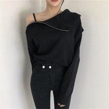 Женский трикотажный свитер neophil черный свободный с воротником